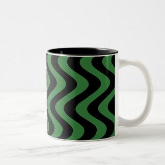Wobbly Waves (Green/Black) Two-Tone Coffee Mug
