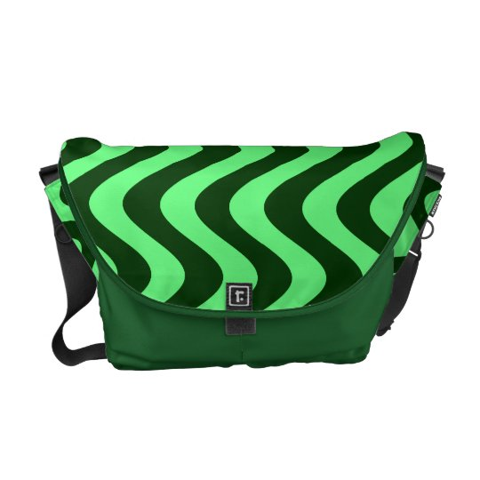 Wobbly Waves (Green/Green) Messenger Bag