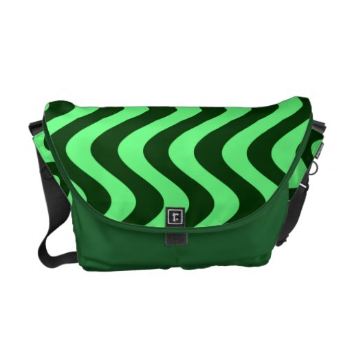 Wobbly Waves (Green/Green) Messenger Bags