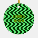 Wobbly Waves (Green/Green) Ornaments