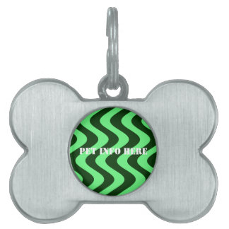 Wobbly Waves (Green/Green) Pet Name Tag
