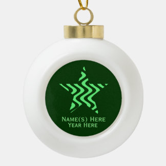 Wobbly Waves (Green/Green) Star Ceramic Ball Christmas Ornament