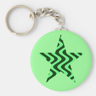 Wobbly Waves (Green/Green) Star Key Chains