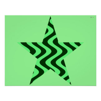 Wobbly Waves (Green/Green) Star Poster