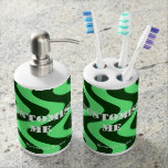 Wobbly Waves (Green/Green) Toothbrush Holder