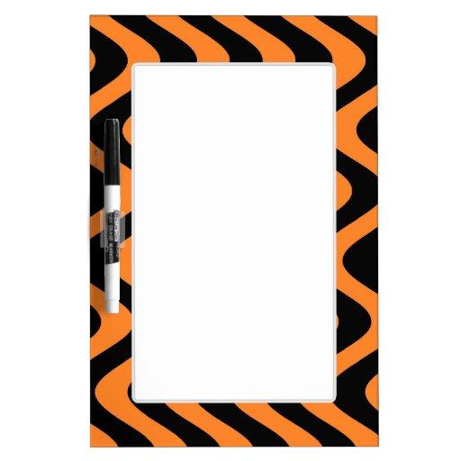 Wobbly Waves (Orange/Black) Dry Erase Whiteboard