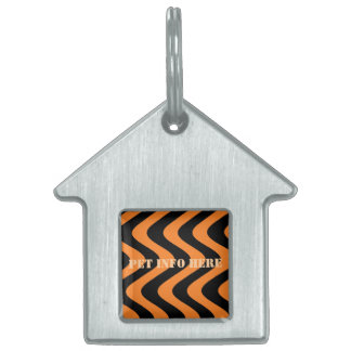 Wobbly Waves (Orange/Black) Pet ID Tag