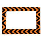 Wobbly Waves (Orange/Black) Picture Frame Magnets