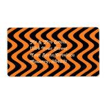 Wobbly Waves (Orange/Black) Shipping Label