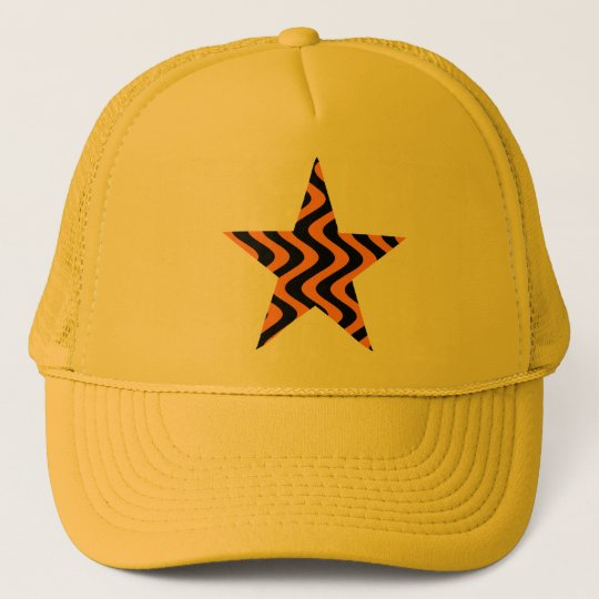 Wobbly Waves (Orange/Black) Star Trucker Hat