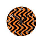 Wobbly Waves (Orange/Black) Wall Clock