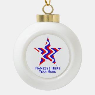Wobbly Waves (Patriotic) Star Ceramic Ball Christmas Ornament