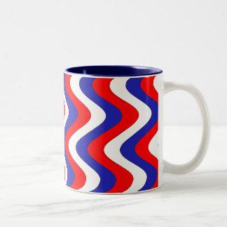 Wobbly Waves (Patriotic) Two-Tone Coffee Mug