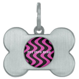 Wobbly Waves (Pink/Black) Pet Name Tag