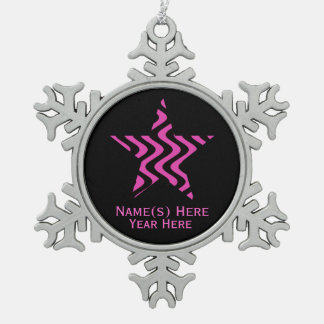 Wobbly Waves (Pink/Black) Star Snowflake Pewter Christmas Ornament