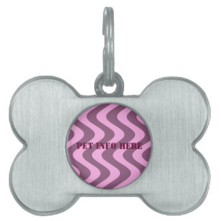 Wobbly Waves (Pink/Pink) Pet Name Tag