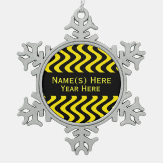 Wobbly Waves (Yellow/Black) Snowflake Pewter Christmas Ornament
