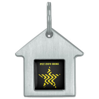 Wobbly Waves (Yellow/Black) Star Pet Tag