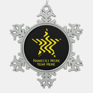 Wobbly Waves (Yellow/Black) Star Snowflake Pewter Christmas Ornament