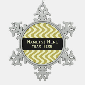 Wobbly Waves (Yellow/Yellow) Snowflake Pewter Christmas Ornament