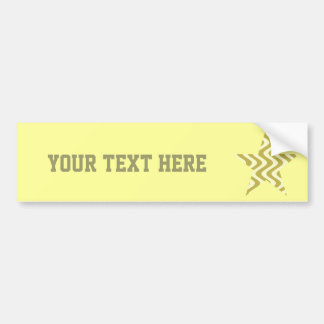 Wobbly Waves (Yellow/Yellow) Star Bumper Sticker