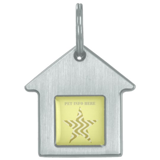Wobbly Waves (Yellow/Yellow) Star Pet Name Tag
