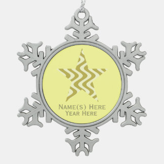 Wobbly Waves (Yellow/Yellow) Star Snowflake Pewter Christmas Ornament