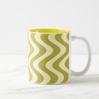 Wobbly Waves (Yellow/Yellow) Two-Tone Coffee Mug