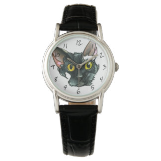 Woen's Black Cat Vintage Black Leather Strap Watch