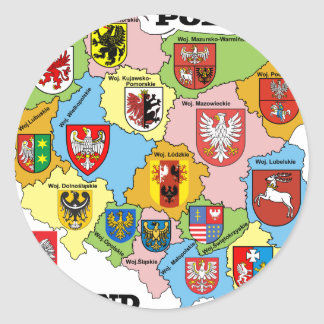 Wojewodztwa Polski_mapa Classic Round Sticker