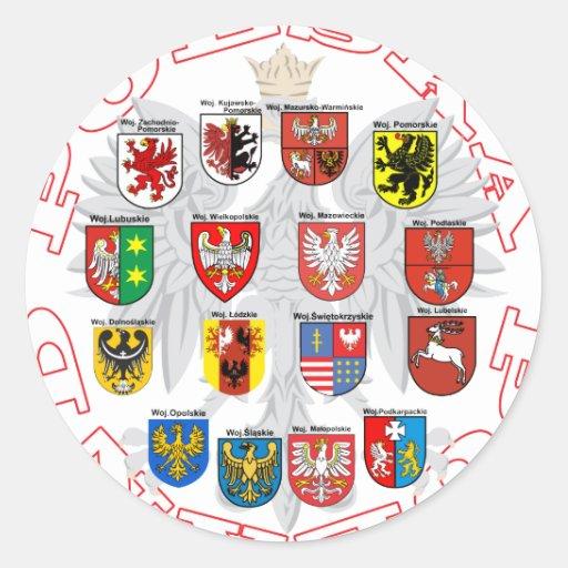 Wojewodztwa Polski Round Stickers