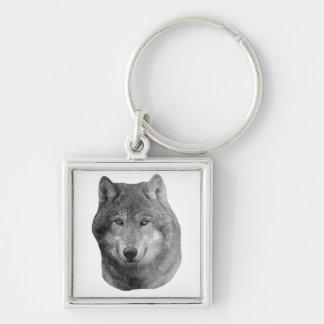 Wolf2 - Imagen estilizada Llavero Cuadrado Plateado