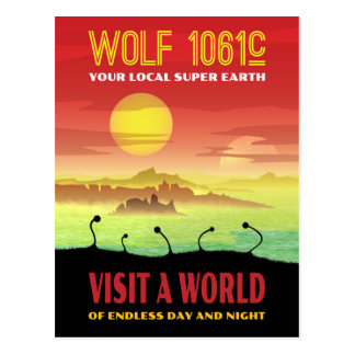Wolf 1061c Retro Exoplanet Travel Illustration Postcard