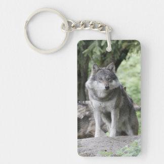 Wolf 14AJ Rectangular Acrylic Keychain