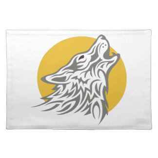 WOLF AGAINST MOON CLOTH PLACE MAT