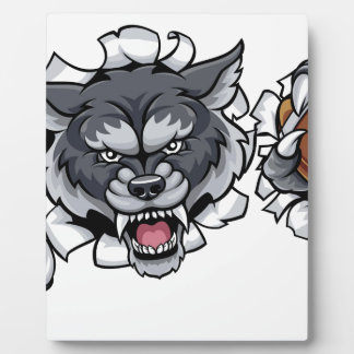 Wolf American Football Mascot Breaking Background Plaque