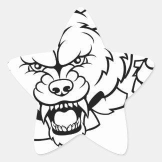 Wolf American Football Mascot Breaking Background Star Sticker