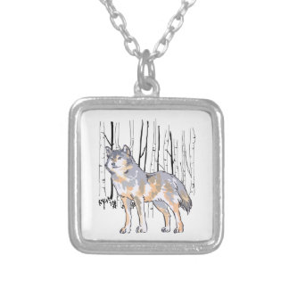 WOLF AND BIRCH TREES SQUARE PENDANT NECKLACE