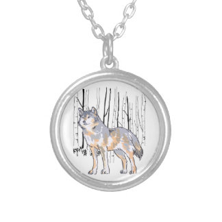 WOLF AND BIRCH TREES ROUND PENDANT NECKLACE
