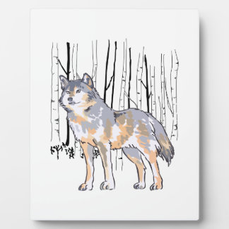 WOLF AND BIRCH TREES PLAQUE