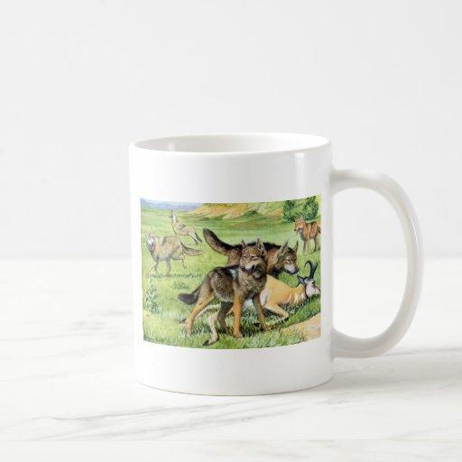 wolf and coyote coffee mug