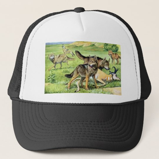 wolf and coyote trucker hat