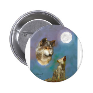 wolf-and-cub pinback button