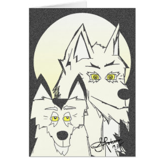 Wolf and cub card