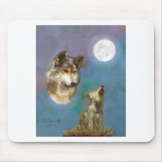 wolf-and-cub mouse pad