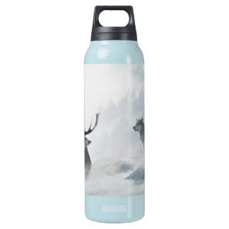 Wolf and Deer Insulated Water Bottle
