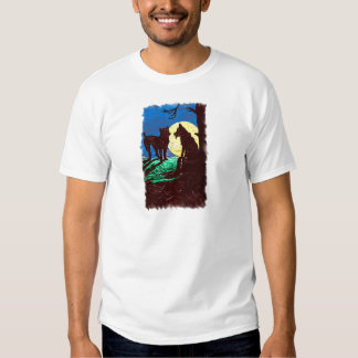 Wolf and Dog with Full Moon T-Shirt