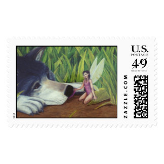 Wolf and Fairy Stamp by Nathan Lee James