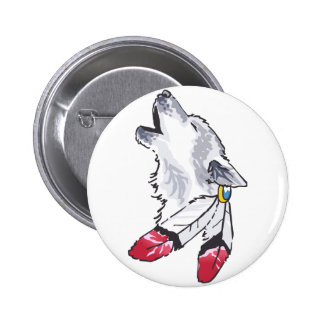 WOLF AND FEATHERS 2 INCH ROUND BUTTON
