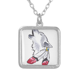 WOLF AND FEATHERS SQUARE PENDANT NECKLACE